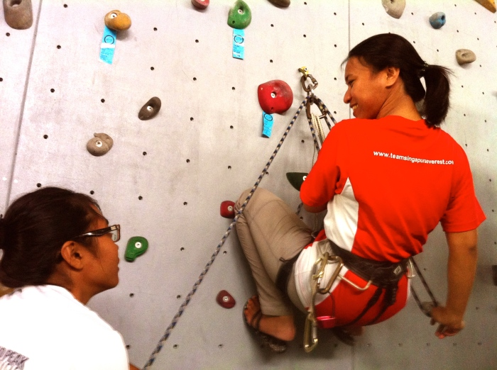 Samatha and Yusrina practicing communicating climbing calls
