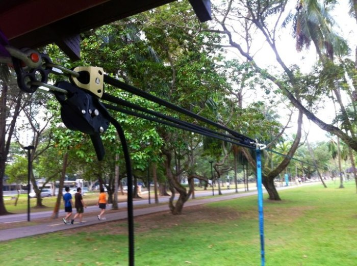 Using Rig as the brake, Rock Exotica Machined pulleys and a 11m rope. We got a 55m rope to great tension (East Coast park Stone table line)