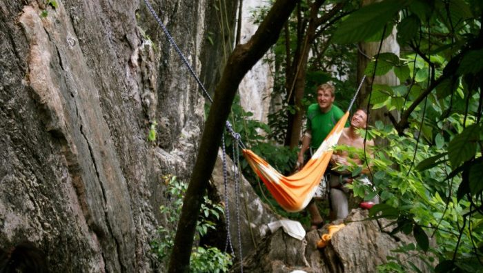 Rock Climbing babies sleeping in Hammocks! (Photo by Jill Marion)