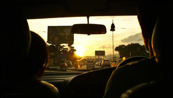 Driving into the sunset after a good day of climbing (Photo by Jill Marion)