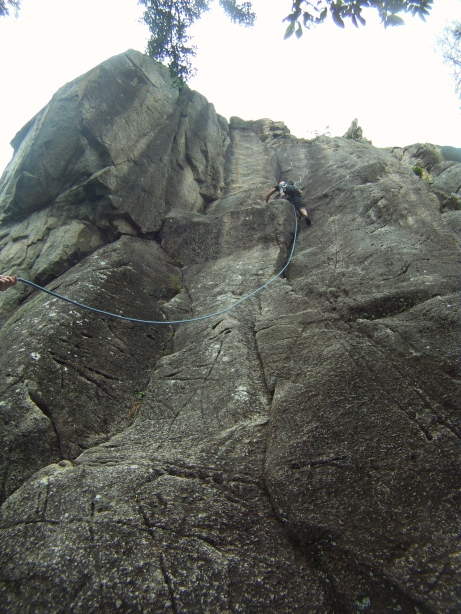 Lam on the lieback crack with committing moves before the chains