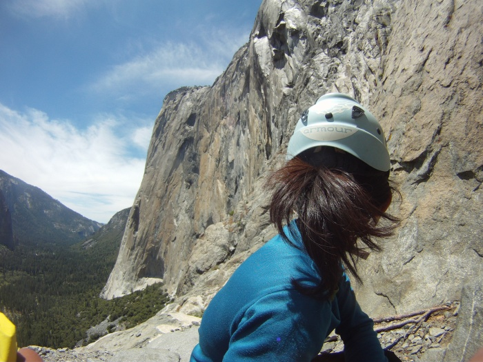 On one of the many belay ledge thinking about dinner plans with El Cap looming over us