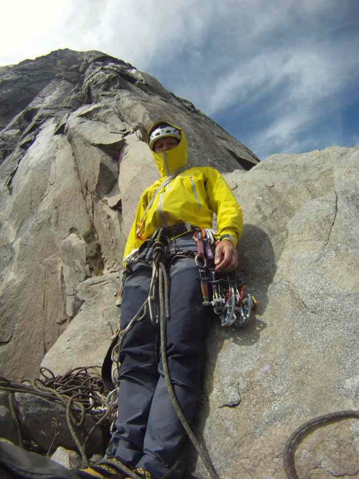 Getting ready to climb the short laid back pitch. The best pitch on East Buttress IMHO