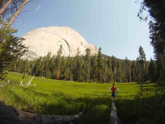 Taking a long break at Lost Lake and admiring the backside of Half Dome.