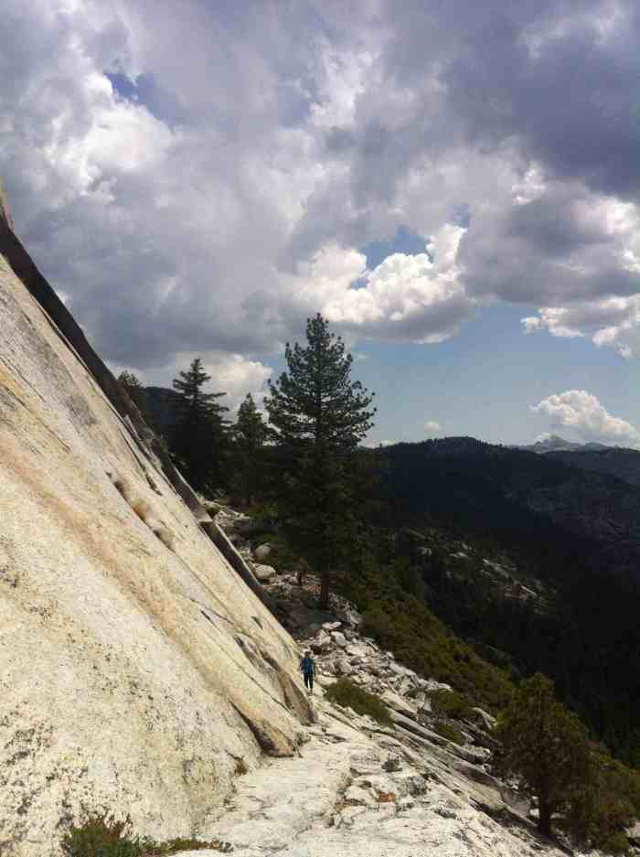 The exposed walk along the base of Half Dome