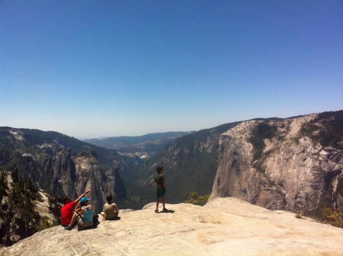 Family outing at its best. Overlooking El Cap