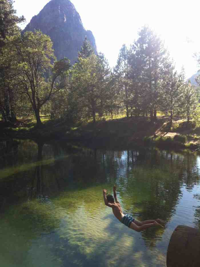 Rest days can be airborne too. Thats Theo off the bridge into the river in his boxers..