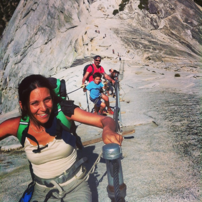 The Family on the Cables! Half Dome!