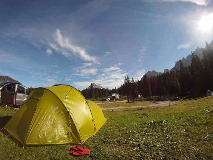 Our new Tiga tent in Italy. After our gears were caught in the RIM fire in Yosemite, this is the lightweight replacement