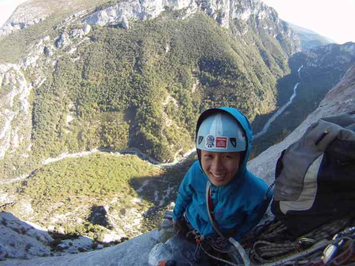 On cold days in the shade on Reve D'argent. Getting some lessons on face climbing