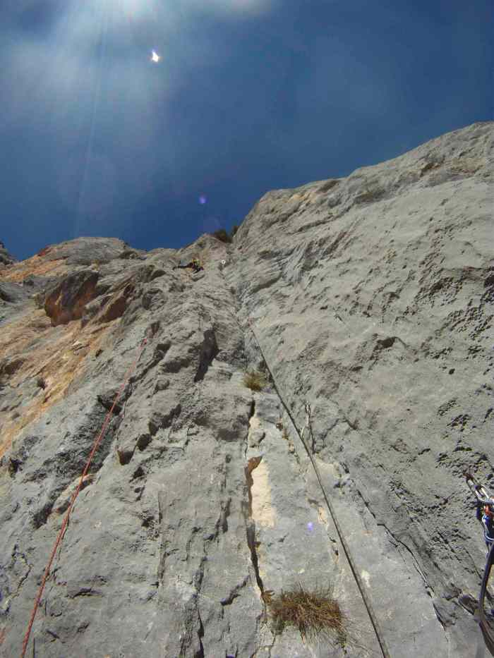 The everything went wrong pitch. That's yours truly high up on the dihedral before the top out to the face.