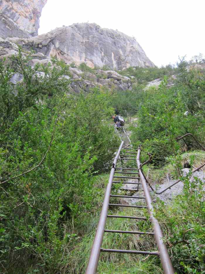 Getting to Hulk on some old ladders and Via Ferrata