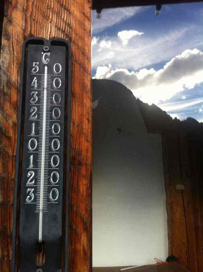 At the start of the day, at the base of Tre Cime it rarely goes above 10 degrees.