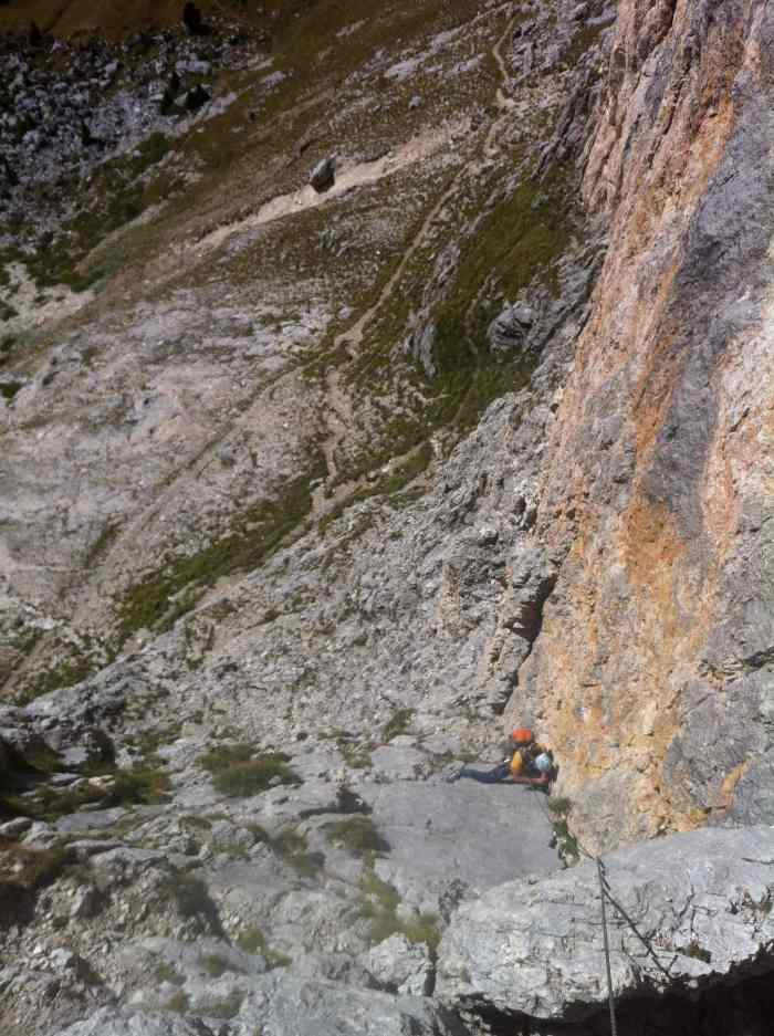 On the first Sella Tower in Dolomite, Trenker Crack