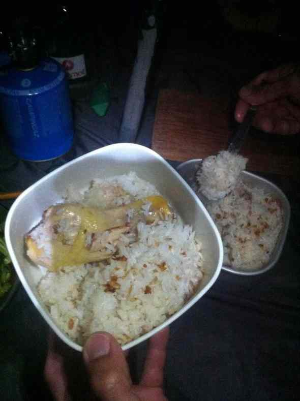 Camp made chicken rice to calm the nerves at the end of the day