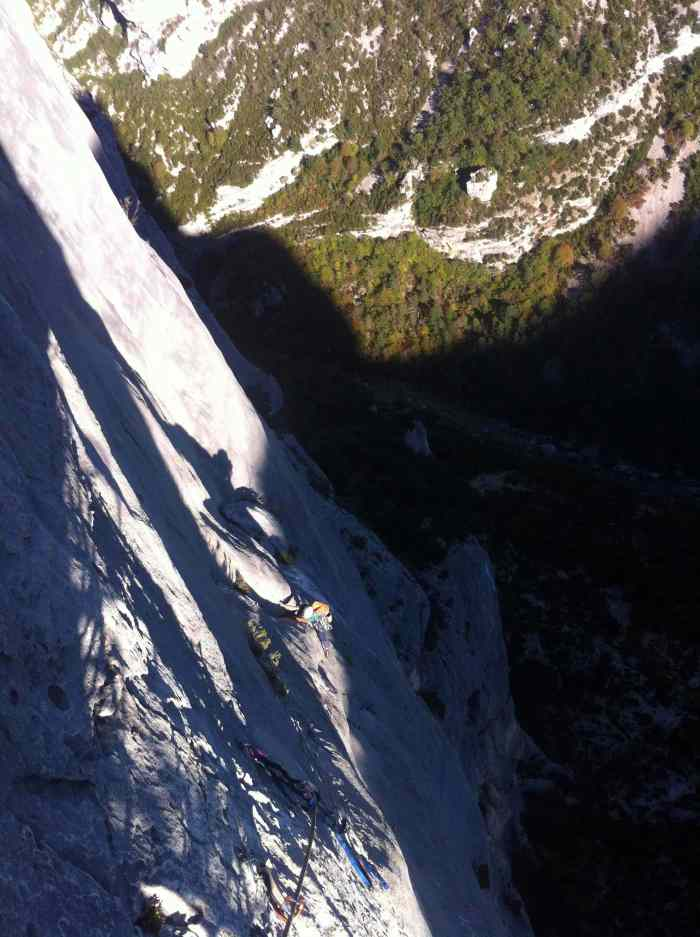 The link up on the 6b and 7b+ with the sun chasing us up the wall