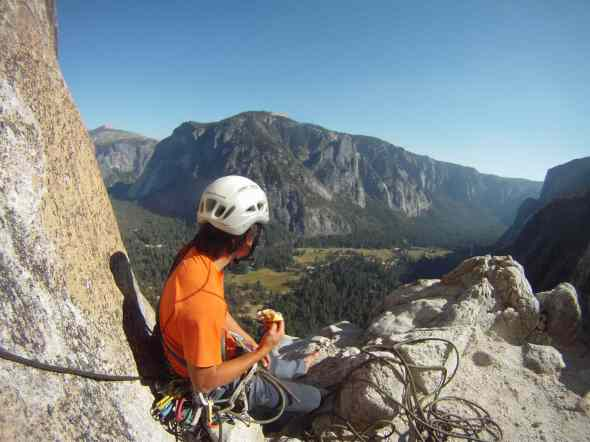 On the belays of Lost Arrow Spire in Yosemite Aug 2013