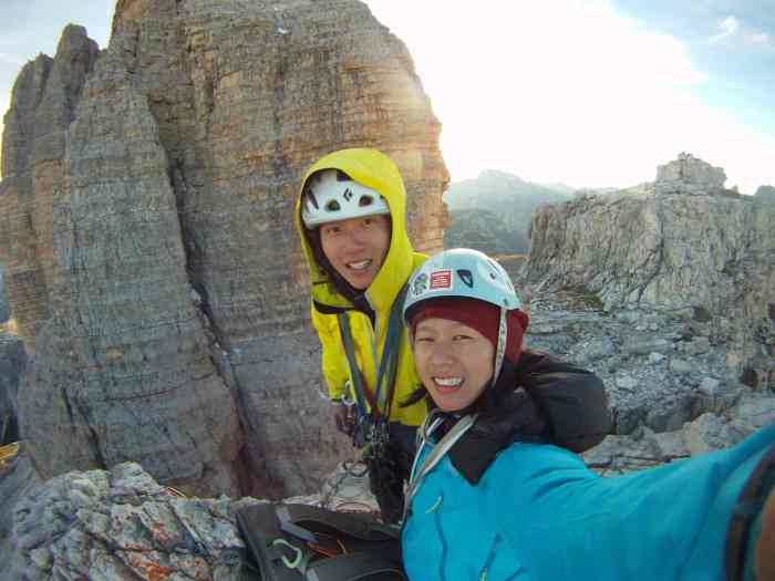 Kelly climbed the Cassin route with 4 layers, including the Rho AR, Thorium AR and Alpha SL Hybrid.