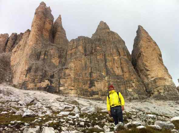 Hiking up to the Cassin Route on the Tre Cime in Dolomiti