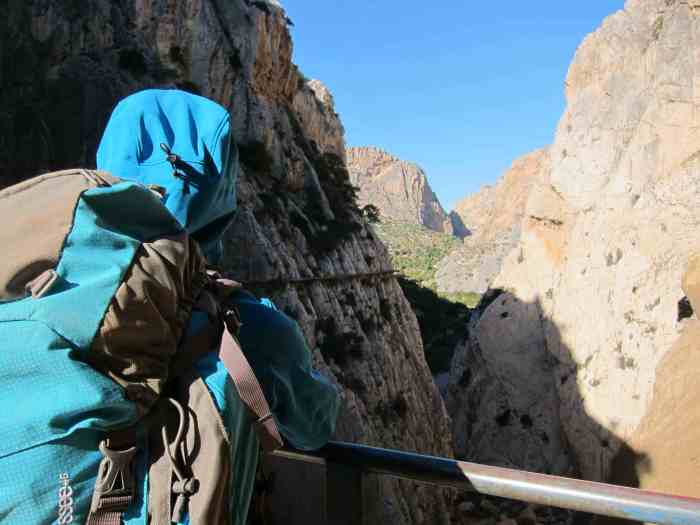 On the Camino Del Rey, The King's path, a via ferrata in one of the worst conditions I have ever encountered in my life.