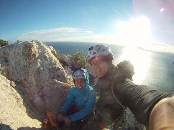 Top out on El Navigante and barely able to walk off the top with strong winds blasting at us