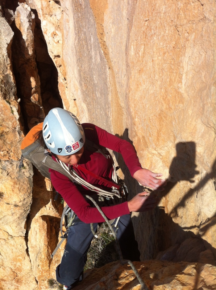 Cranking a few moves to the anchor on the 6b+?