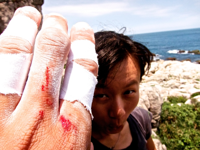 Great weather, bleed fingers and my wife's monkey face.