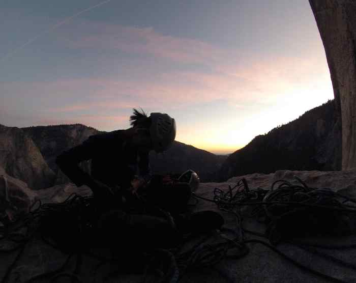 Getting to the ledge before sunset. (watch out for mouse on the El Cap Spire!)
