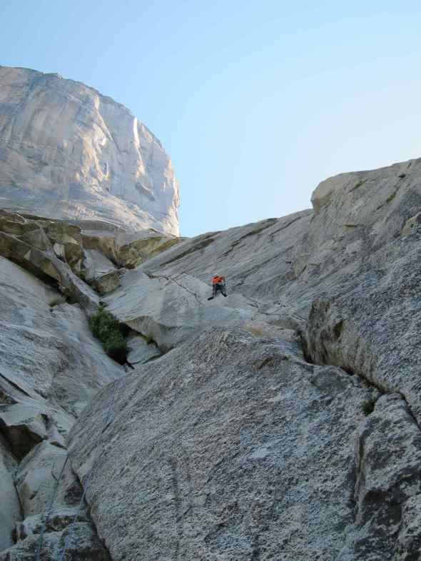 Starting off the first pitch of Salathe wall (the first 10 pitch is commonly done as a multi pitch route also known as the Free Blast)