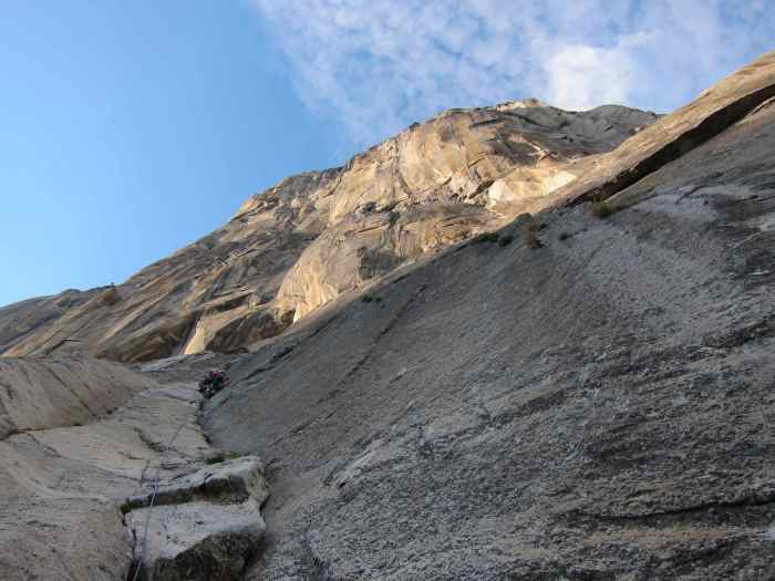 Finishing up the last 2 pitch of Freeblast with easy climbing
