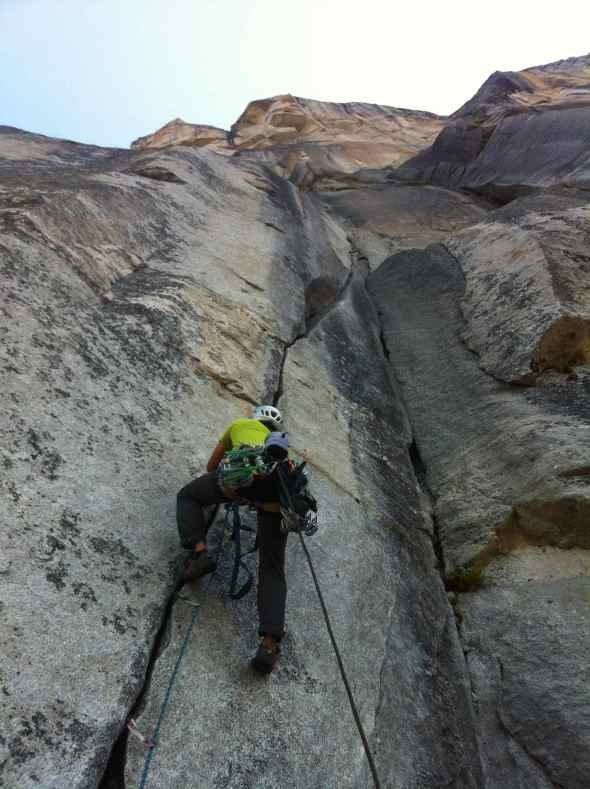 First pitch off El Cap Spire. I regretted not wearing my free shoes as I had to climb the 5.9 squeeze in my approach shoes.