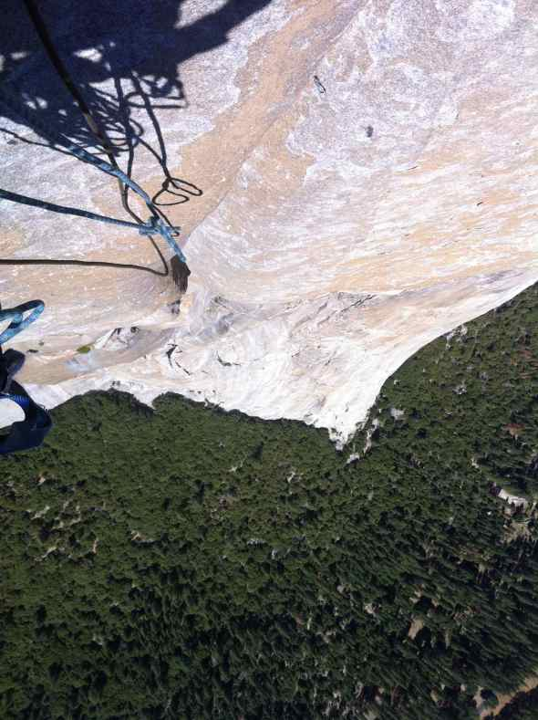 Looking down from the belay