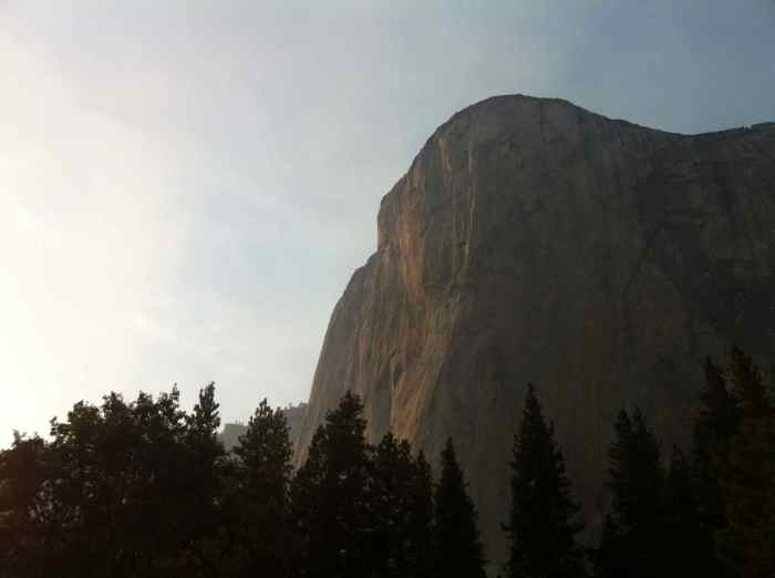 While soaking in the Merced river, El Cap is staring down at us with the sunset on it