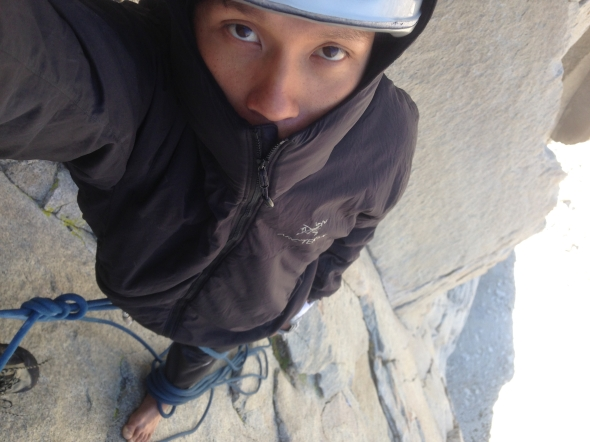 My first time wearing the Arc'teryx Atom Hoody to climb! Its too cold to wear other combos!