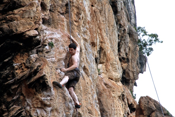 Joao on Thaiwand Wall, Circus Oz first pitch.