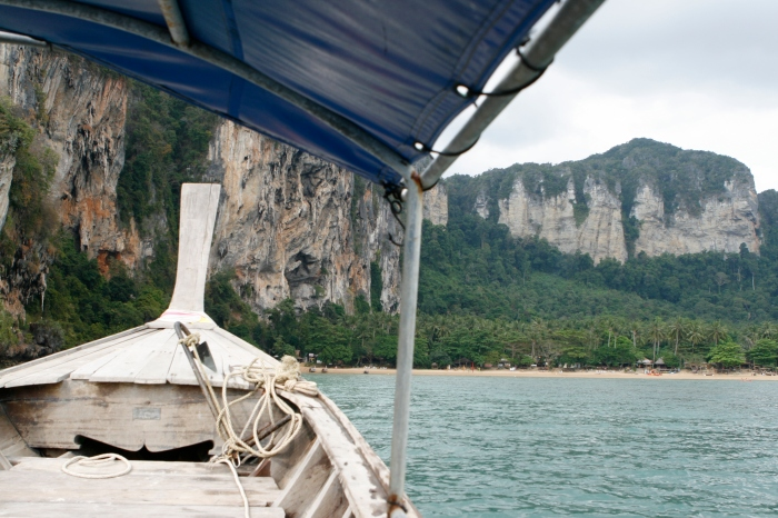 Long tail boat ride into Tonsai. If there is a storm, you are getting wet for sure!