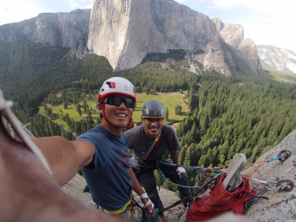 Zhu yan and I on top of Central Pillar of Frenzy. Great crack climbing!