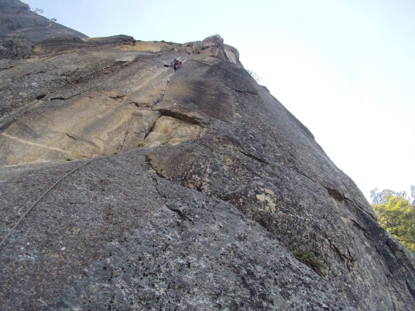Rostrum on the 11c fingers crux pitch (in terms of grade) I feel that the 11c is so much easier than the overhanging 11b crack on P7