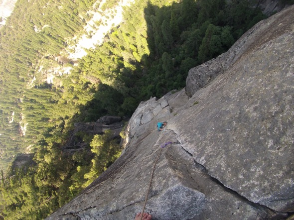 Kelly on the crux pitch