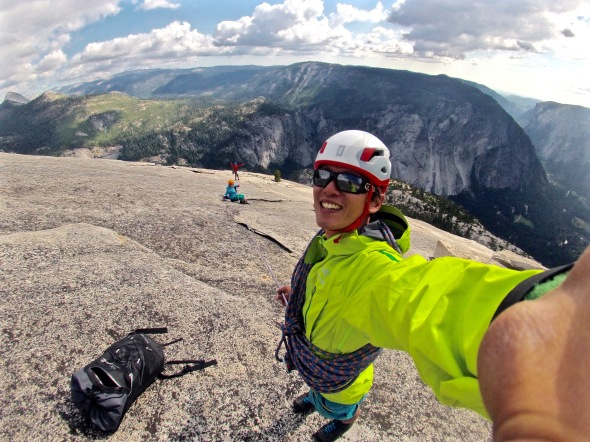 Siok and Harshil on the way up to the summit of Half Dome!